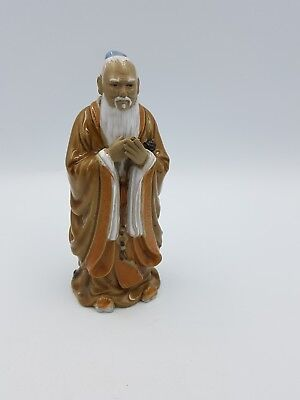 Chinese Shiwan Pottery Part Glazed Clay Figurine Sage Wise Man Long White Beard