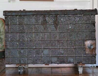 Antique Damchiya dowry chest 1800s  India steam trunk  wood metal