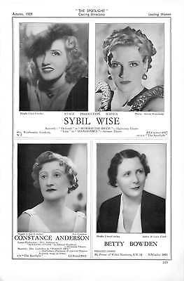 1939 Sybil Wise Constance Anderson Betty Bowden Lesley Brook