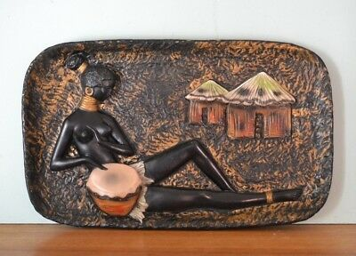 Vintage chalkware African wall haning  tribal mid century tray black lady YLBt5