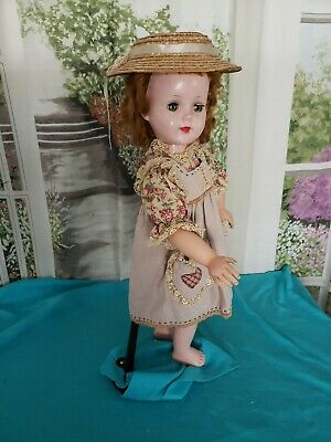 """Vintage Doll Dress & Straw Hat for large 24"""" Sweet Sue clothes"""