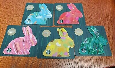 5 x STARBUCKS Gift Card 2019 Rabbit Easter complete set : PIN intact