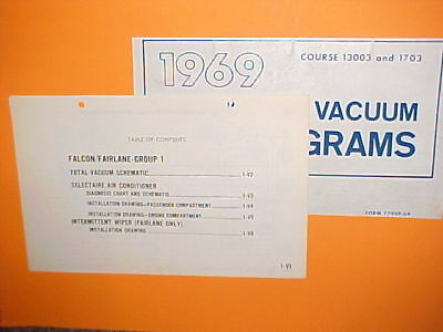 1969 Ford Falcon Futura Fairlane 500 Torino Oem Factory Original Vacuum Diagrams