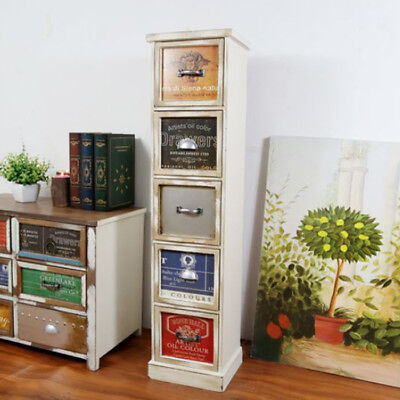 Retro Cabinet 5 Drawers Storage White Side Table Rustic Furniture 95cm