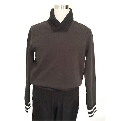 RUGBY Ralph Lauren Men Size M Shawl Collor Black Cotton Sweater patched elbows