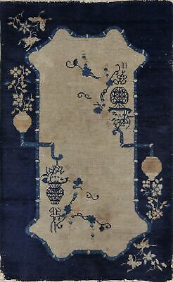 80 Years Old Antique 3x5 Art Deco Nichols Chinese Oriental Area Rug Wool Carpet