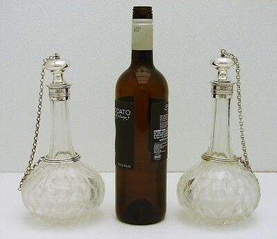2 Neo-Class Cut Glass Decanter Marked Dutch Solid Silver Wrapped Stopper & Chain