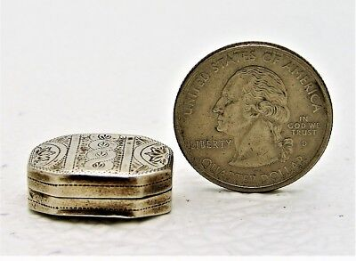 Birmingham English Sterling Silver Miniature Box Vinaigrette C&B c1800