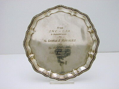 Egyptian Sterling Silver Tray with Scalloped Edge Hallmarked Cairo 900 fine