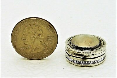 French Sterling Silver Pill or Snuff Box Glass Top  with Regal Woman Portrait