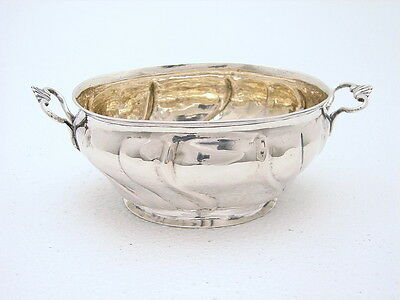 Early Hallmarked Denmark Sterling Bowl Chased Dated Arved Hansen Gold Wash 1767