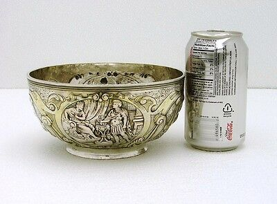 European Hallmarked Solid Silver Hand Crafted Bowl with Chased Figural Scenes