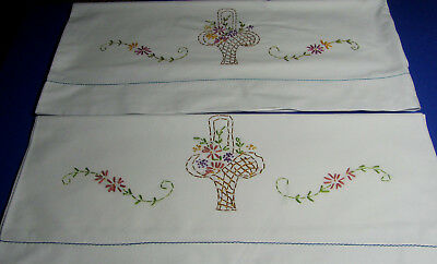 Pair Vintage Embroidered Floral Daisy Basket Cotton Pillowcases 20x32 M51