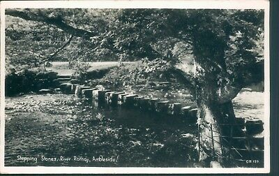 real photo; ambleside & stepping stones river rothay; H webster