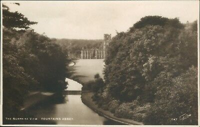 Real photo; Fountains abbey surprise view; walter scott