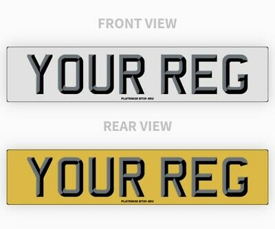 Pair 3D Car Number Plates 100% Road Legal Compliant Registration Van Top Quality