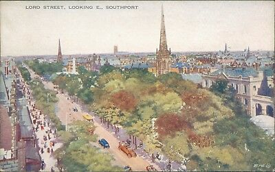 Southport; Lord street looking east valentines artcolour 92142