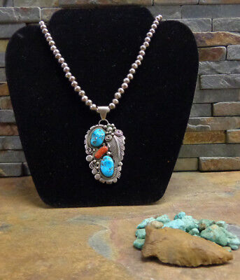 Stunning Navajo Sterling Turquoise Red Coral Necklace Native Old Pawn Harvey Era