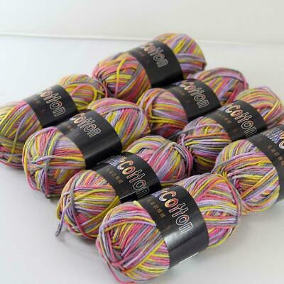 AIP Soft Baby Cotton Yarn New Hand dyed Wool Socks Scarf Knitting 2Skeinsx50g 05