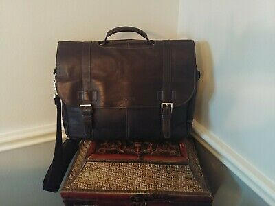 e19a17e47 Kenneth Cole Reaction Colombian Leather Double Compartment Flapover Laptop  bag