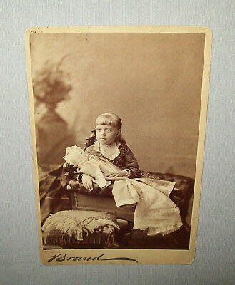 Antique vtg 1890s Young Girl With a Very Large Doll Cabinet Card Photograph Nice