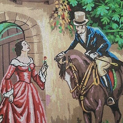 Large Printed Lady & Rider Tapestry Needlepoint Canvas Cross Stitch Unworked