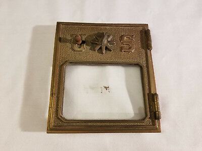 Antique Vintage Post Mail Office Box 1902   Star Combo Lock  beveled glass 5 x 6
