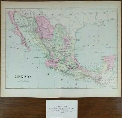 "Vintage 1896 MEXICO Country Atlas Map 13""x10"" Old Antique Original MAPZ"