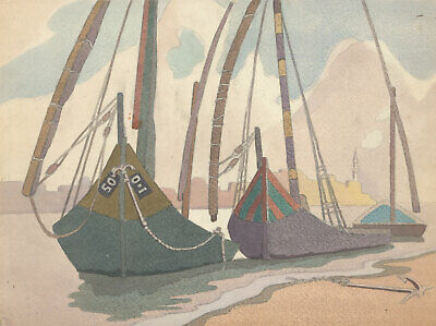 J.W.A. Young - Mid 20th Century Watercolour, Boats on the Harbourside
