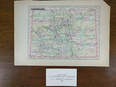 "Vintage 1896 COLORADO State Atlas Map 10""x7"" Old Antique Original DENVER MAPZ"