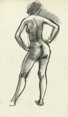 Peter Collins ARCA - c.1970s Charcoal Drawing, Expressive Nude