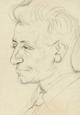 Peter Collins ARCA - c.1970s Graphite Drawing, Portrait of an Older Man