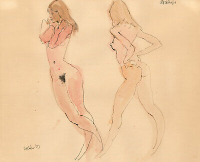 Peter Collins ARCA - Signed 1973 Mixed Media, Studies of a Female Nude