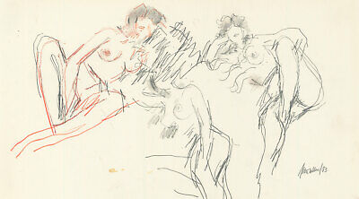Peter Collins ARCA - Signed 1983 Graphite Drawing, Sitting Nude Studies