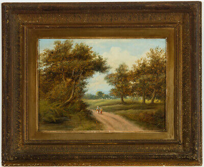 Gilt Framed Early 20th Century Oil - Mother and Child on a Country Path