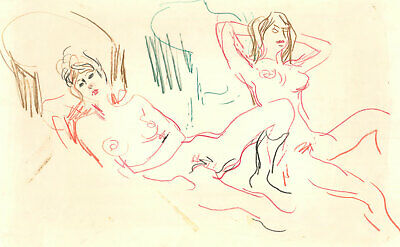 Peter Collins ARCA - c.1970s Coloured Pencil, Reclined Nudes