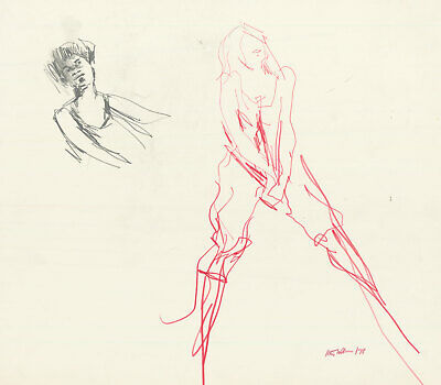Peter Collins ARCA - Signed c.1970s Graphite Drawing, Expressive Nude in Red