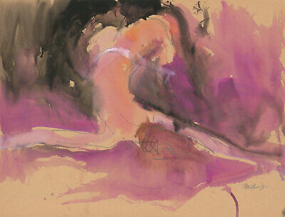 Peter Collins ARCA - Signed 1980 Watercolour, Nude in Pink