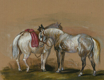 English School Early 20th Century Watercolour - Study of Horses