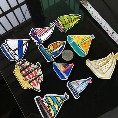 10Pc Ancient Sailing Patch Embroidered Ship DIY Boat Badge Sew Iron on Appliques