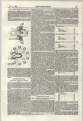 1897 Operating Cost Compressed Air Tramcar New York City Locomotive Check Valve