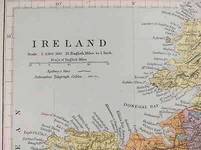 IRELAND 1896 Vintage Country Atlas Map ~ Old Antique DUBLIN GALWAY WATERFORD