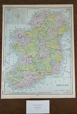 """IRELAND 1900 Vintage Atlas Map 11""""x14"""" ~ Old Antique LEINSTER DONEGAL GALWAY"""