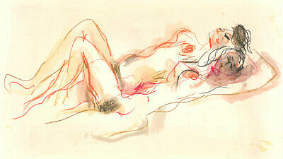 Peter Collins ARCA - c.1970s Mixed Media, Study of Reclining Nudes