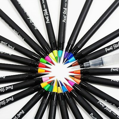 24 Colors Watercolor Brush Pens Set Paint Markers Flexible Brush Professional AU