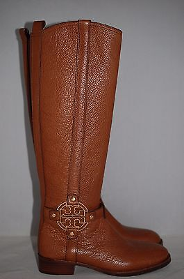 f75a5db7afe3 New  495 TORY BURCH Amanda Brown Leather Riding Logo Boots Shoes 5 US   35  EU