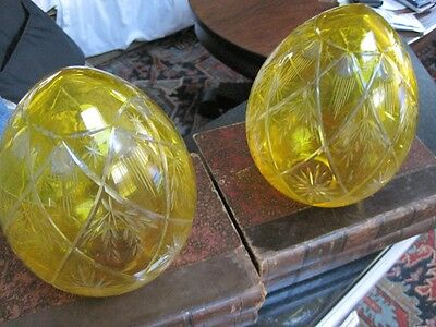 Antique Pair of Eteched Carved Amber Hand Blown Crystal Austrian Globes c1950