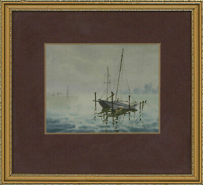 Framed Early 20th Century Watercolour - Tranquil Seascape