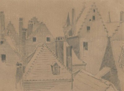 George Willoughby Maynard NA (1843-1923) - 1871 Graphite Drawing, Antwerp View