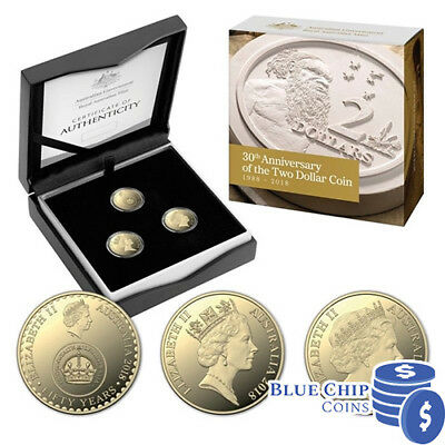 2018 $2 30th Anniversary of the $2 Coin Three Coin Proof Set NUMBERED: 1014